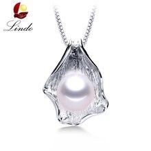 e0b89875ee13 Gran 10-11mm blanco Natural perla de agua dulce colgante collar mujer moda  925 joyería de plata de ley de alta calidad Shell col.