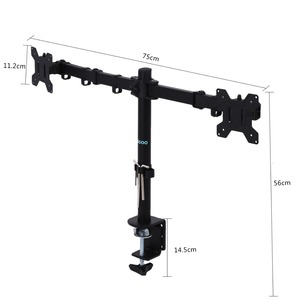 Image 2 - 3 Fully Adjustable Joints and Dual 2 bay Monitor Mount Desk Mount  for 2 Monitors Swiveling BE