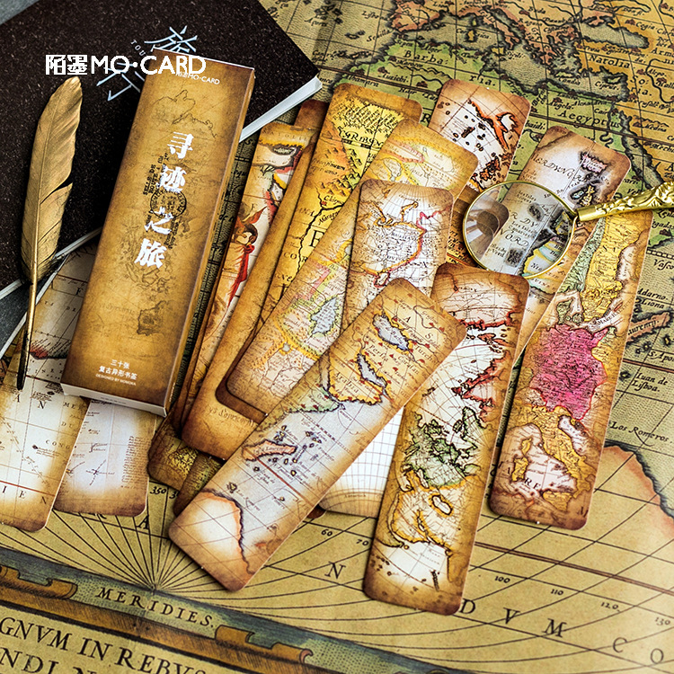 30 Pcs/box Retro  Treasure Map Bookmark Stationery Tracing Journey Bookmarks Book Holder Message Card School Supplies Papelaria