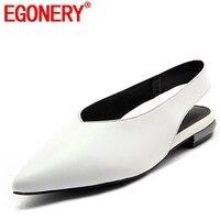 EGONERY/Женская обувь на плоской подошве; новый стиль, с острым носком, натуральная кожа, летние женские туфли повседневные; для прогулки; 2018 для...