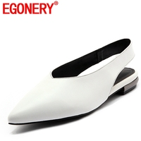 EGONERY women flats new style pointed toe genuine leather summer shoe woman causal walking shoes 2018 nurse working shoes summer