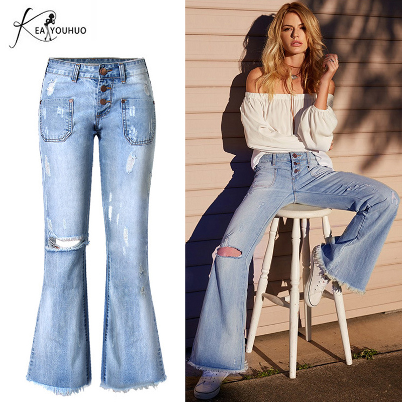 New Women Ripped Flare Jeans Bell Bottom Jeans For female Deep Blue Wide Leg Vintage Skinny Denim Pants Young Pantalones Mujer anne klein new deep black slim leg ponte director women s 2 dress pants $89 361