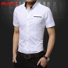 iRicheraf Mens Shirts Shirt Plus Size Short Sleeve Street Wear Solid Grey White Pink Shirt 3XL 5XL Dropshipping 2019 Non-Ironing цена