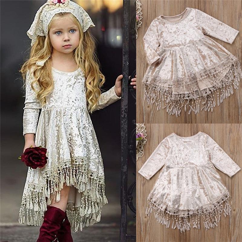 284aeab27 Princess Infant Baby Girls Silver velvet Dress Kids Long Sleeve ...