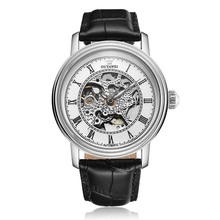 лучшая цена Golden Skeleton Dial Mechanical Men Watches OUYAWEI Automatic  Mens Watch Top Brand Luxury Male Clock Genuine Leather Wristwatch