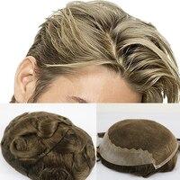 SimBeauty бразильский девственница парик из натуральных волос для мужчин с 8x10 дюймов мягкий французский кружевной колпачок с 2 дюйма четко ПУ сз...