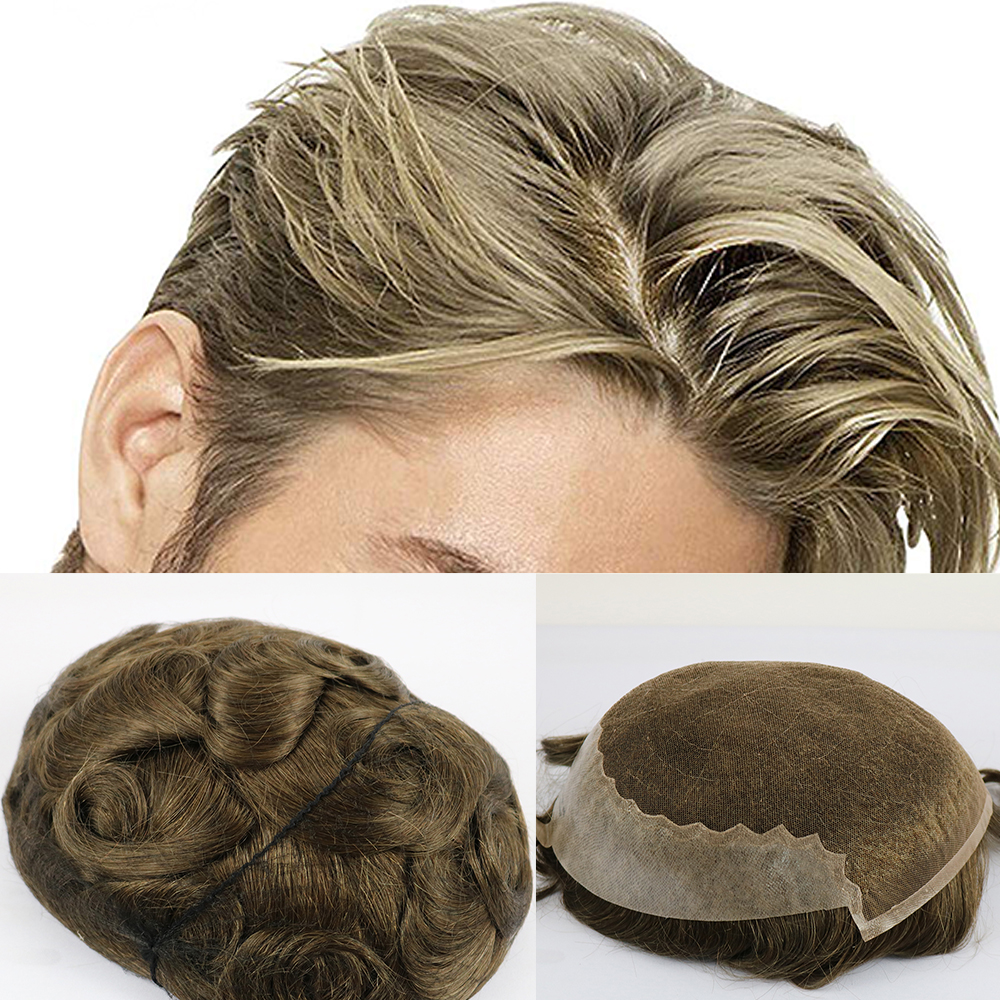 SimBeauty Brazilian Virgin Human Hair Toupee For Men With 8x10 Inch Soft French Lace Cap With 2inch Clearly PU In Back