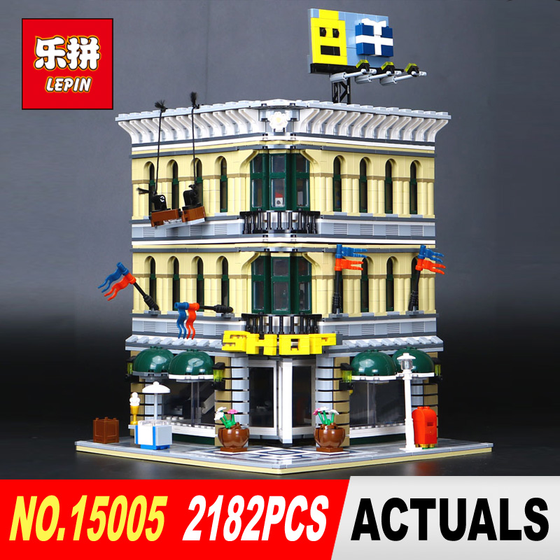 LEPIN 15005 2182Pcs City Grand Emporium Model Building Blocks Kits Brick Toy Compatible Educational 10211 Children DIY Gift lepin 1767 city town city square building blocks sets brick kid model kids toys for children marvel compatible bela diy gift toy