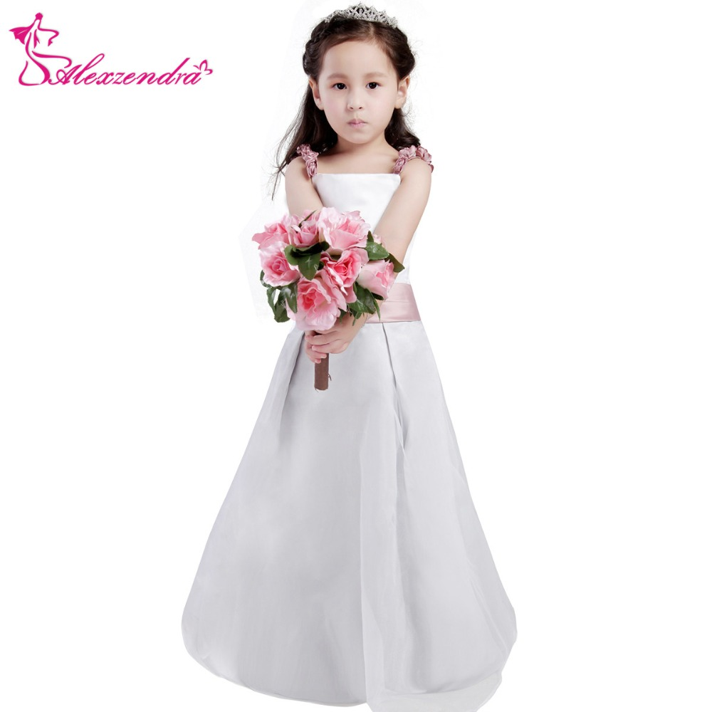 Alexzendra White Ivory Satin Flower Girls Dresses With Flowers