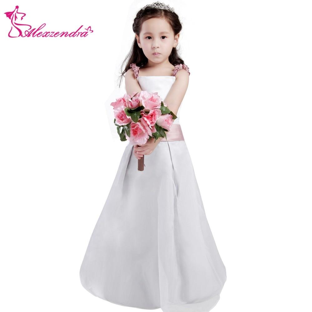 Alexzendra White Ivory Satin Flower Girls Dresses with Flowers Straps Cute Girls First Communion Dress Princess Girl Dress