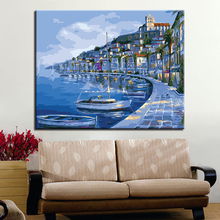Seaview Room And Ship At Night Picture By Numbers DIY Painting Kits Hand painted On Linen Canvas Home Decorative Unique Gift
