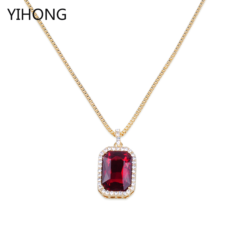 Simple Design Long Chain Necklace Red Blue Crystal Stone Pendant Sweater Chain for Fashion Women Jewelry