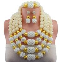 Fabulous 3 Strati Bianco Cristallo Africano Set di Gioielli di Perline 6 MM Borda il Set Per Le Donne di Modo Bianco Pendente Della Collana Set 10094