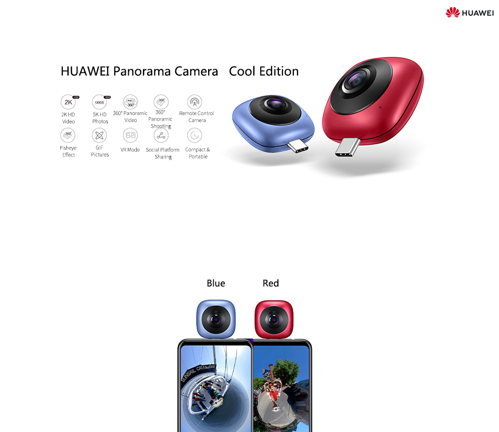 Image 2 - HUAWEI CV60 Cool Edition Panoramic 360 Camera 13MP 5K Photo 2K Full HD Videos Dual Fisheye Phone Camera Lens for Android 6.0-in 360° Video Camera from Consumer Electronics