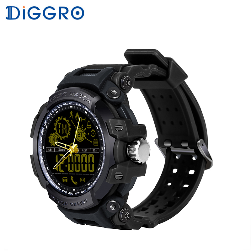 Diggro DI10 Smart Watch Outdoor Sport Waterproof 5ATM Luminous Dial Pedometer Message Reminder Clock Pointerfor Android IOS diggro di10 smart sport watch ip68 waterproof pedomete long standby time bluetooth 4 0 smart 1 21 inch watch for ios android