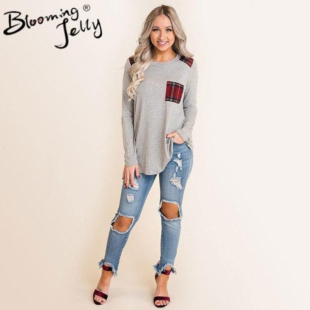 Blooming Jelly Female Floral Print Plaid Patchwork Blouse O-neck Causal Long Sleeve Autumn Streetwear Soft Top with Chest Pocket