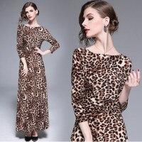 Caidi Kedani Women Leopard Print Casual Loose Party Dress O Neck Ankle Length Regular Comfortable Emprie Dress Size:S/M/L/XL/2XL