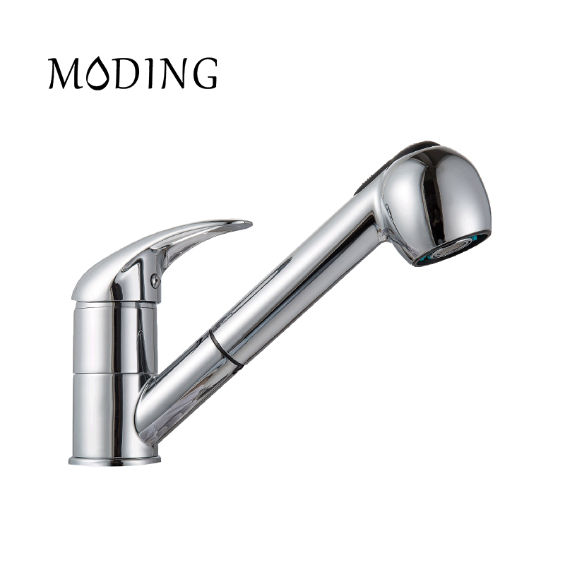 MODING 2017 Kitchen Faucet Pull Out Modern Polished Chrome Single Handle Swivel Spout Vessel Sink Mixer Tap #MD6002-B wanfan modern polished chrome brass kitchen sink faucet pull out single handle swivel spout vessel sink mixer tap lk 9906