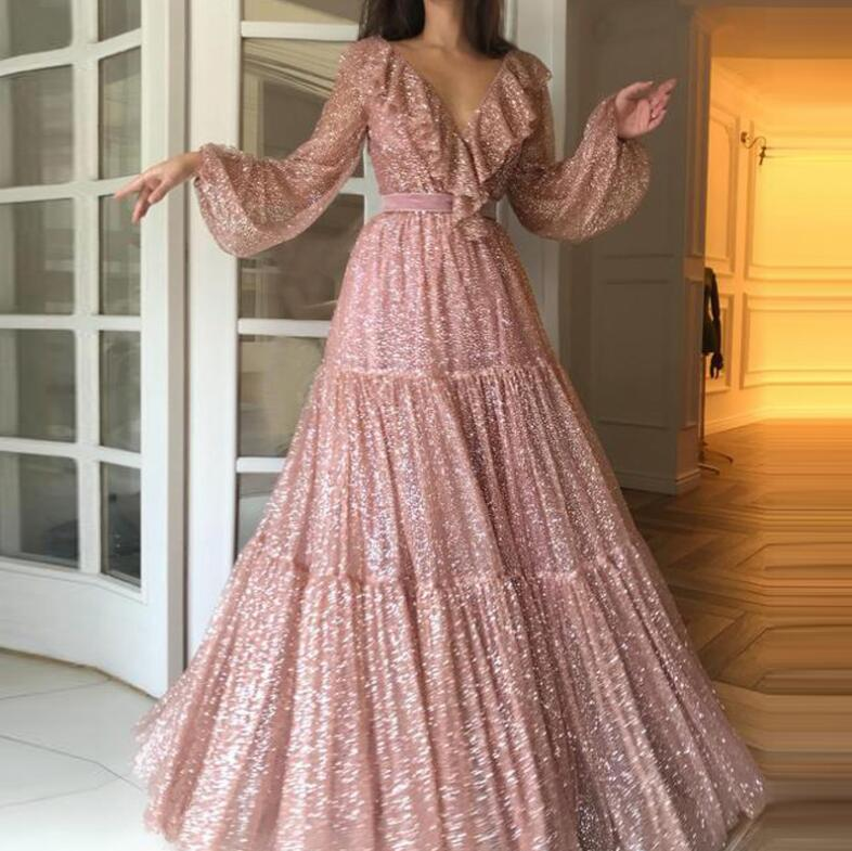2019 Gold Pink  Long Prom Dresses A Line Sexy V-neck Long Sleeves Formal Pageant Holidays Wear Graduation Evening Party Gowns