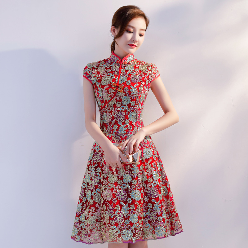 Traditional Lady Chinese Style Daily Red Vintage Bride Wedding Party Qipao Mandarin Collar Cheongsam Stage Show Clothing S XXL