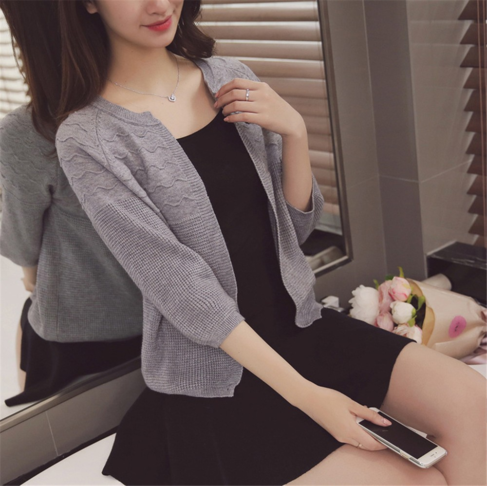 2016 Spring&Autumn Casual Sweater Women Cardigan Sweater Solid Color Open Stitch Women\'s Cotton Knitted Outerwear Sweater (18)