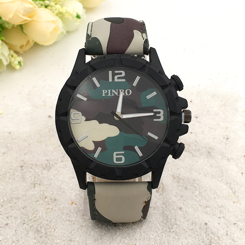 2016 New PINBO Brand Casual Quartz Watch Men Camouflage Outdoor Leather Strap Sports Military Watches Relogio Masculino Hot Sale rear reading map dome light ceiling lamp for volkswagen vw golf 4 passat b5 old bora santana reading light 2colors car parts