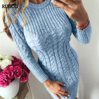 RUGOD 2019 long Sleeve Stylish Women Pullover 2018 Spring Long Sleeve Knitted Women Sweater dress Bodycon pull femme