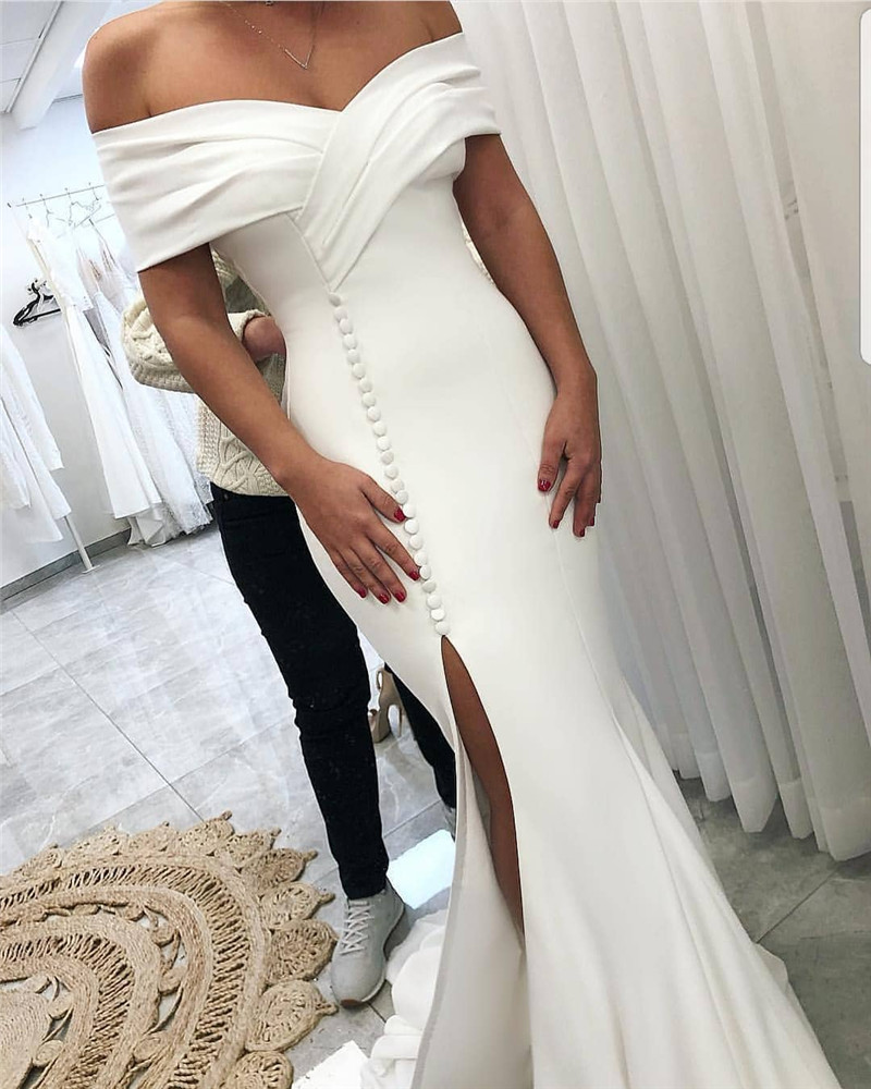 Amazing Split Front Mermaid Wedding Dress For Women 2019 White Satin Off Shoulder African Women Bridal Gowns Vestido De Noiva