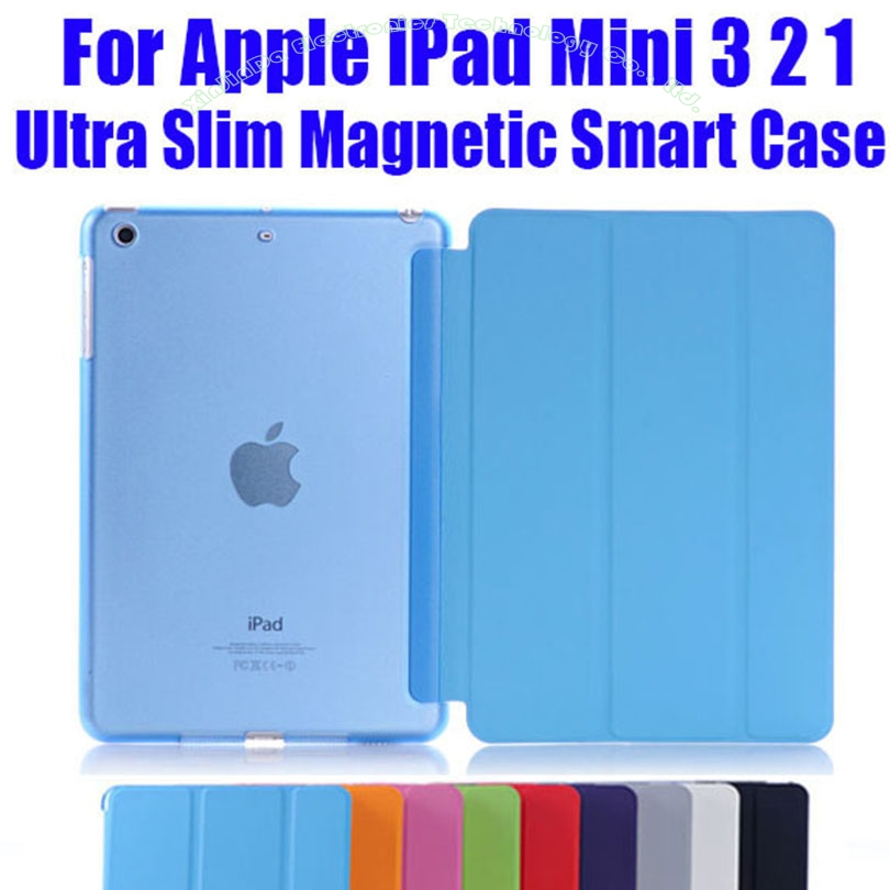 1PC Newest Leather Case for Apple iPad Mini 3 2 1 Fashion Smart Cover + PC translucent back Cover NO: IM302