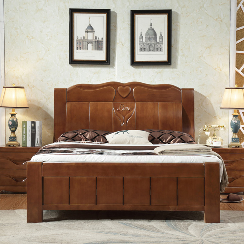 Furniture bedroom Double box Solid wood Simple bed-in Beds ...