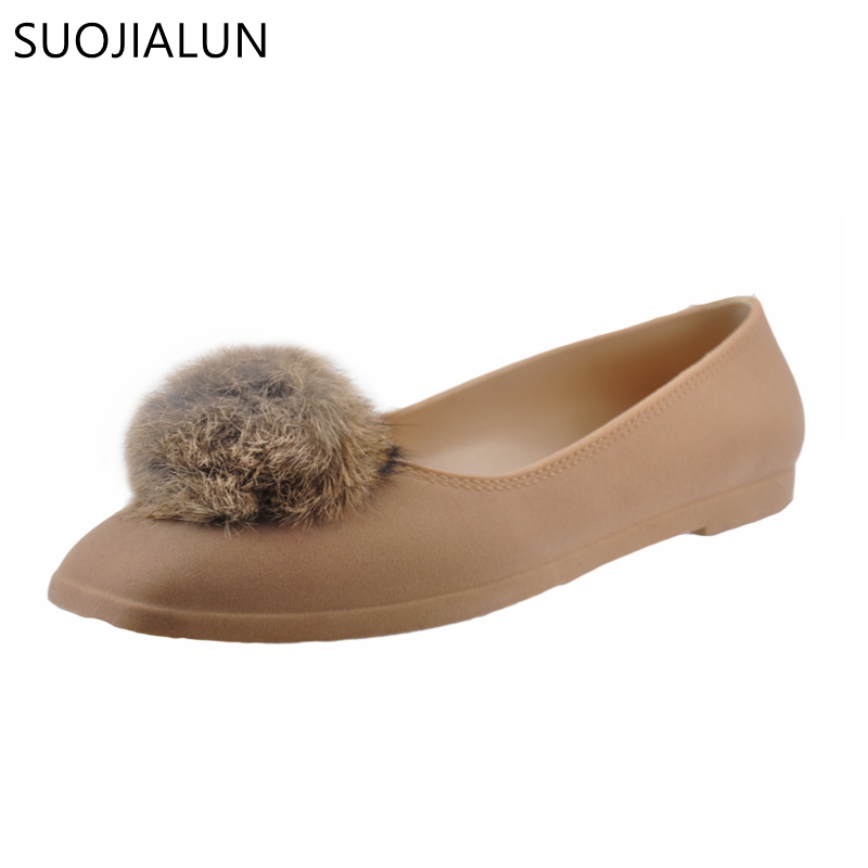 SUOJIALUN Square Toe Shoes Women Flats Pom Pom Fur Slip on Flat Ladies Shoes Faux Fur Woman Loafers Casual Flat Heel Shoes brand women flats shoes spring autumn square toe pu button slip on low heel women s shoes ladies casual flat heel loafers red