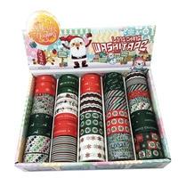 2017 New 1x 60rolls Christmas Tape Set Snowflakes Deer Santa Claus School Stationery Scrapbooking Tools Japanese
