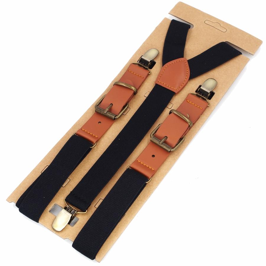 JIERKU Suspenders Man's Braces Leather 3 Clips Suspensorio Leather Suspenders Fashion Trousers Strap Father/Husband's 2.5*115cm