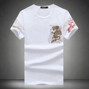 Image 2 - 2020 Mùa Hè In Hình Nam Áo Cổ Tròn Áo Thun Nữ Tay Ngắn Nam Trung Quốc Phong Cách Giày Lười Nam cotton T Áo Sơ Mi 4XL 5XL