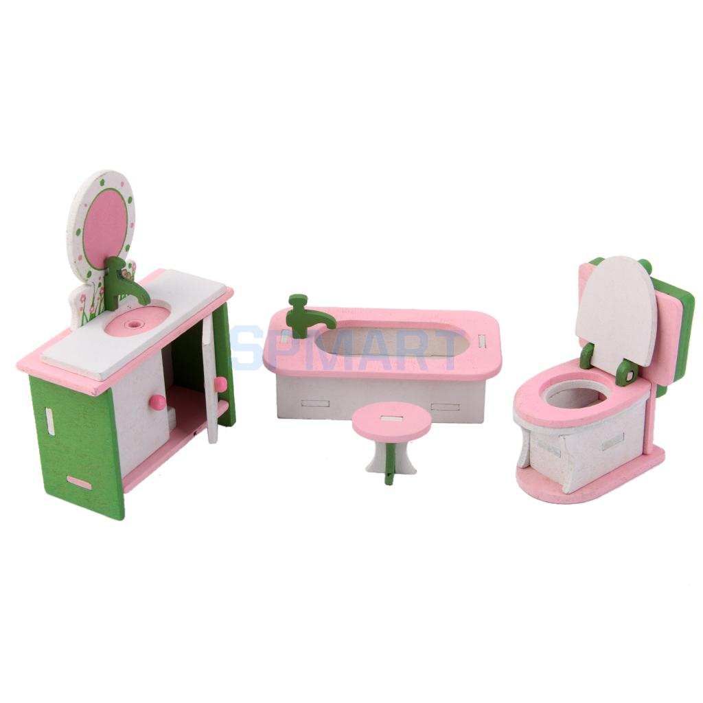 Dollhouse Funiture Wooden Toy Kids Bath Room Set Free Shipping