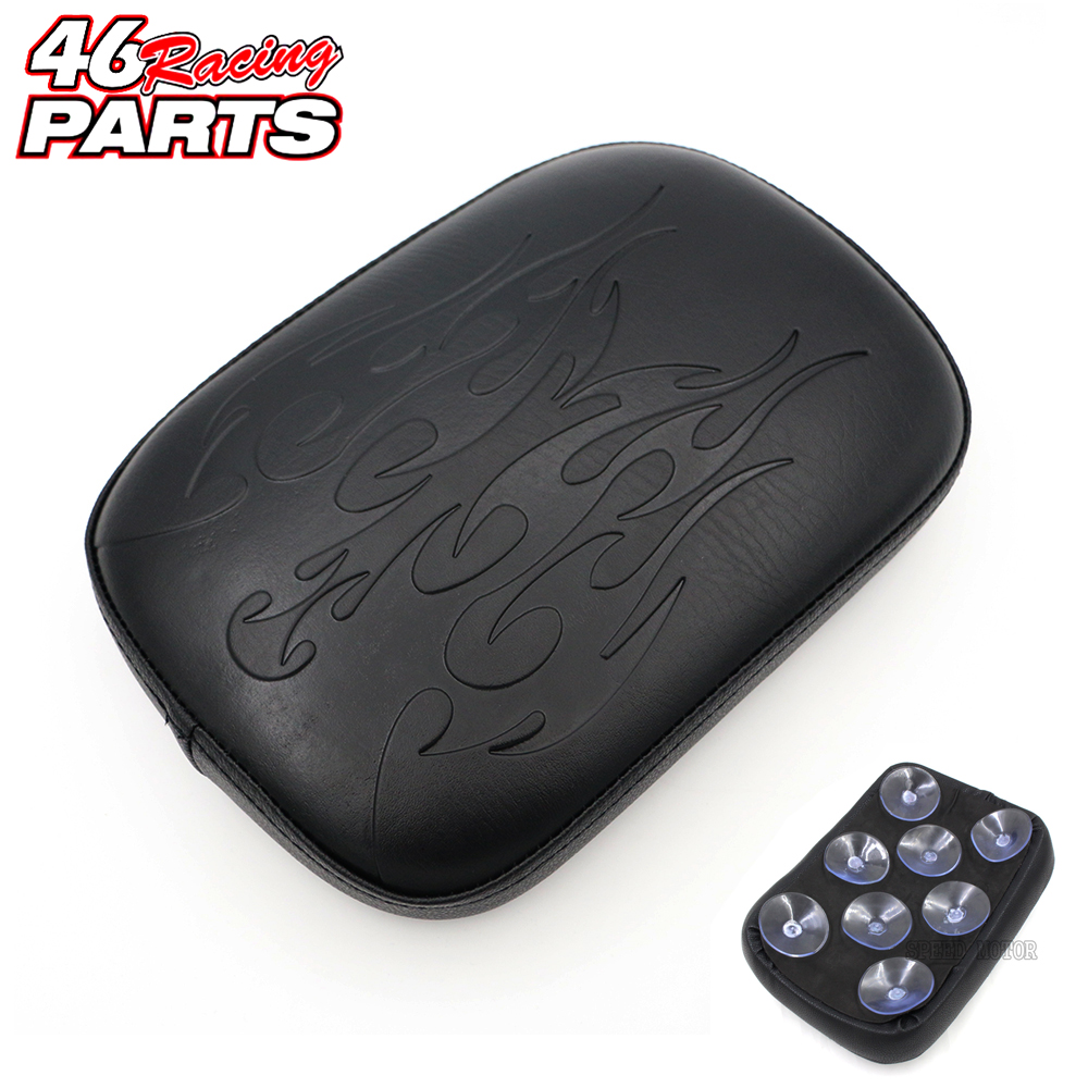 Flame Style Black Motorcycle Rear Passenger Cushion Pillion Seat Pad Suction Cups For Harley /Dyna /Sportster /Softail Touring