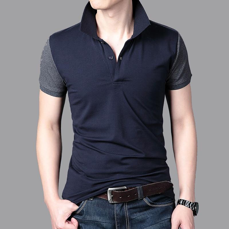 21359fbe8d Hombres camisa de polo 2018 nueva verano hombres de algodón de manga corta  Camisa Polo slim Corea casual solid Polo hombre solapa patchwork camisas