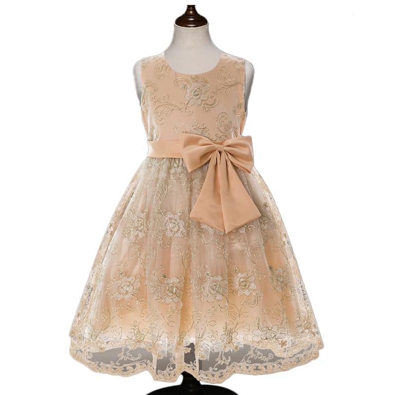 Girls Dresses Yellow Gold embroidery flower party and wedding Princess dresses children graduation vestido de festa infantil