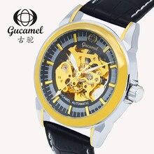 2016 Швейцария швейцарские часы мужчин бренд Gucamel Механические Кожа Наручные Часы Водонепроницаемый Гарантия диаметр Диска 39 мм