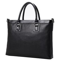 Men bag luxury brand fashion men's leather briefcase bag high-end quality leather man briefcase business laptop computer handbag