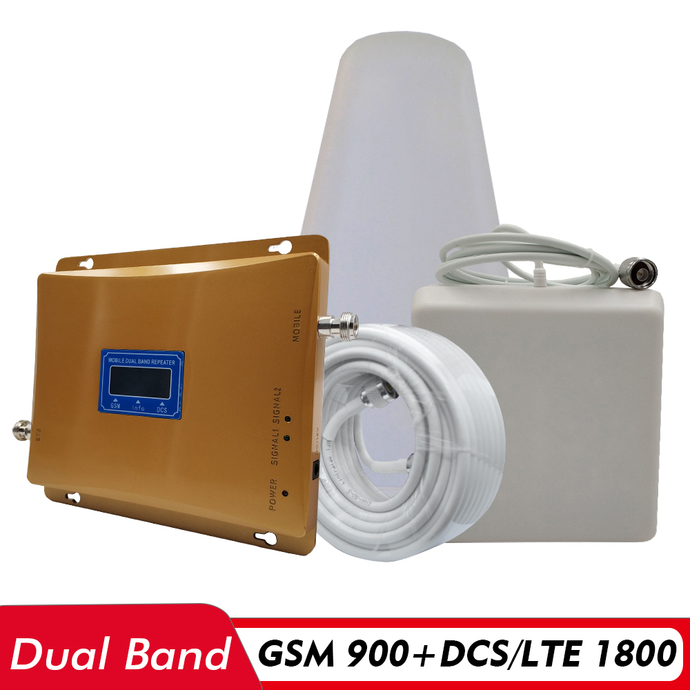 65dB Gain 2G 3G 4G Dual Band Signal Repeater GSM 900 DCS LTE 1800 Cellphone Signal Booster Cellular Signal Amplifier Antenna Set