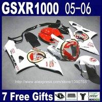 Литья под давлением пластиковые обтекатели комплект для SUZUKI K5 GSX R1000 05 06 GSXR 1000 2005 2006 красный белый лаки страйк обтекателя комплект NM45