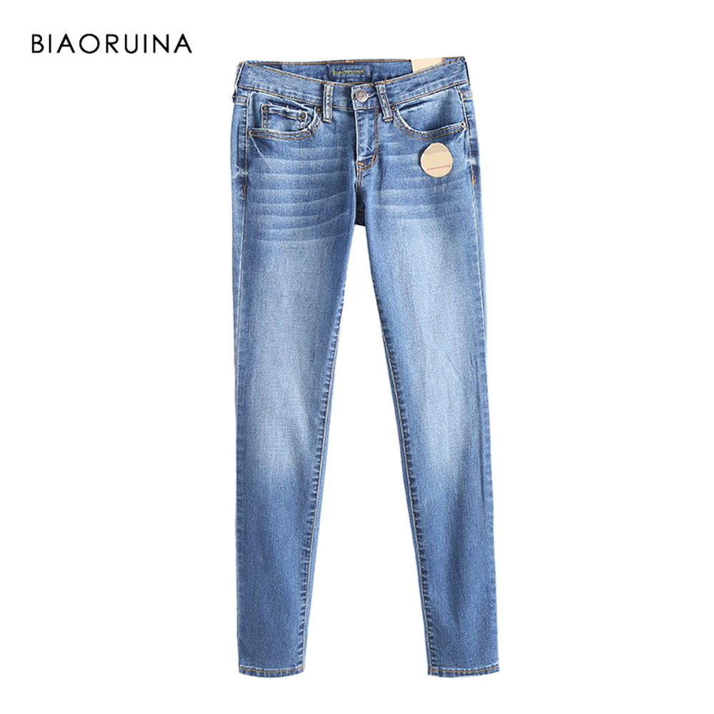 BIAORUINA Women Casual Washing Bleached Stretching   Jeans   Female Fashion Thin Pencil   Jeans   Women High Waist Slim   Jeans   Plus Size