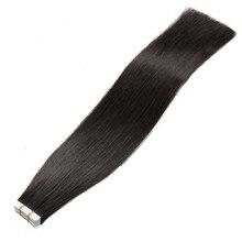АЛИ КРАСОТА Клейкие ленты в Пряди человеческих волос для наращивания машина сделала Реми 16-20 дюйм(ов) Клеящие средства Невидимый прямые волосы PU Кожа Уток Волос 1B #