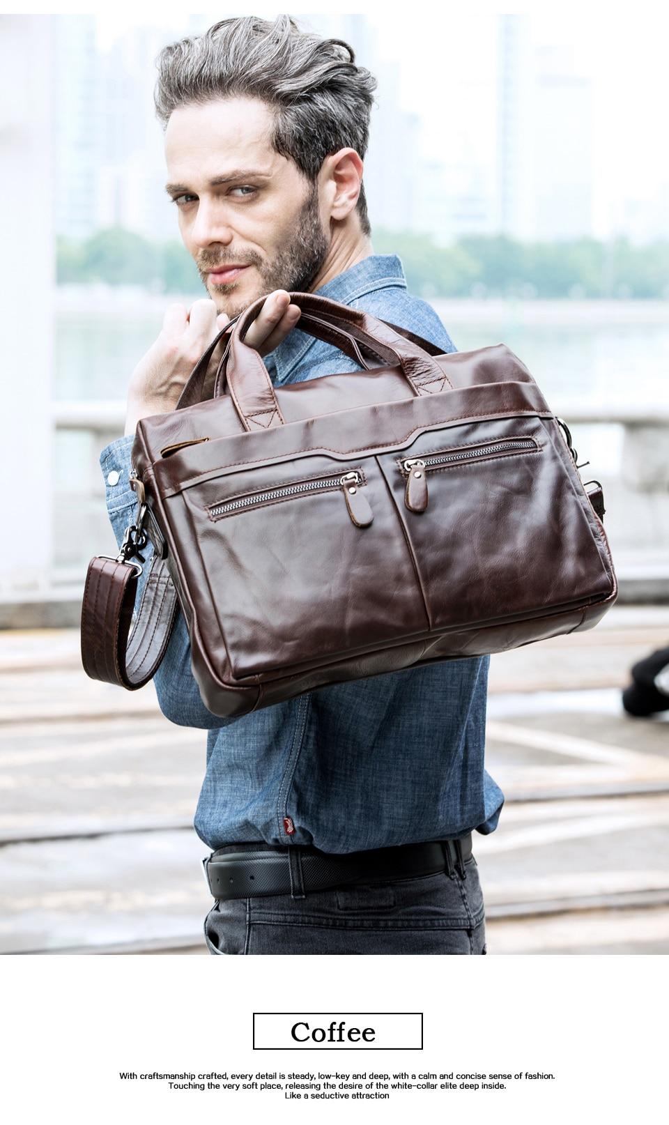 HTB1ZqszbffsK1RjSszgq6yXzpXaK WESTAL genuine leather bag for men's briefcase bussiness laptop bags for documents messenger handbags tote briefcase 9005