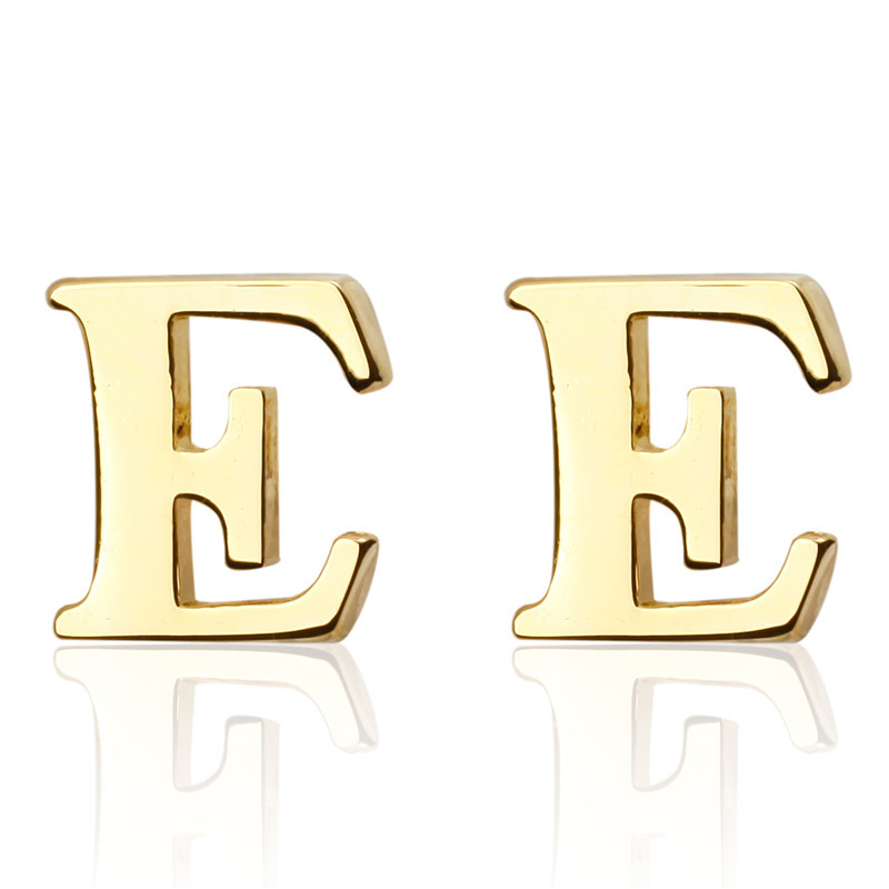 New Brand Gold A Z Letter E Shirt Cufflinks For Men Jewelry Wedding Groom Alloy Cuff Links French Business Abotoaduras Gift In Tie Clips From
