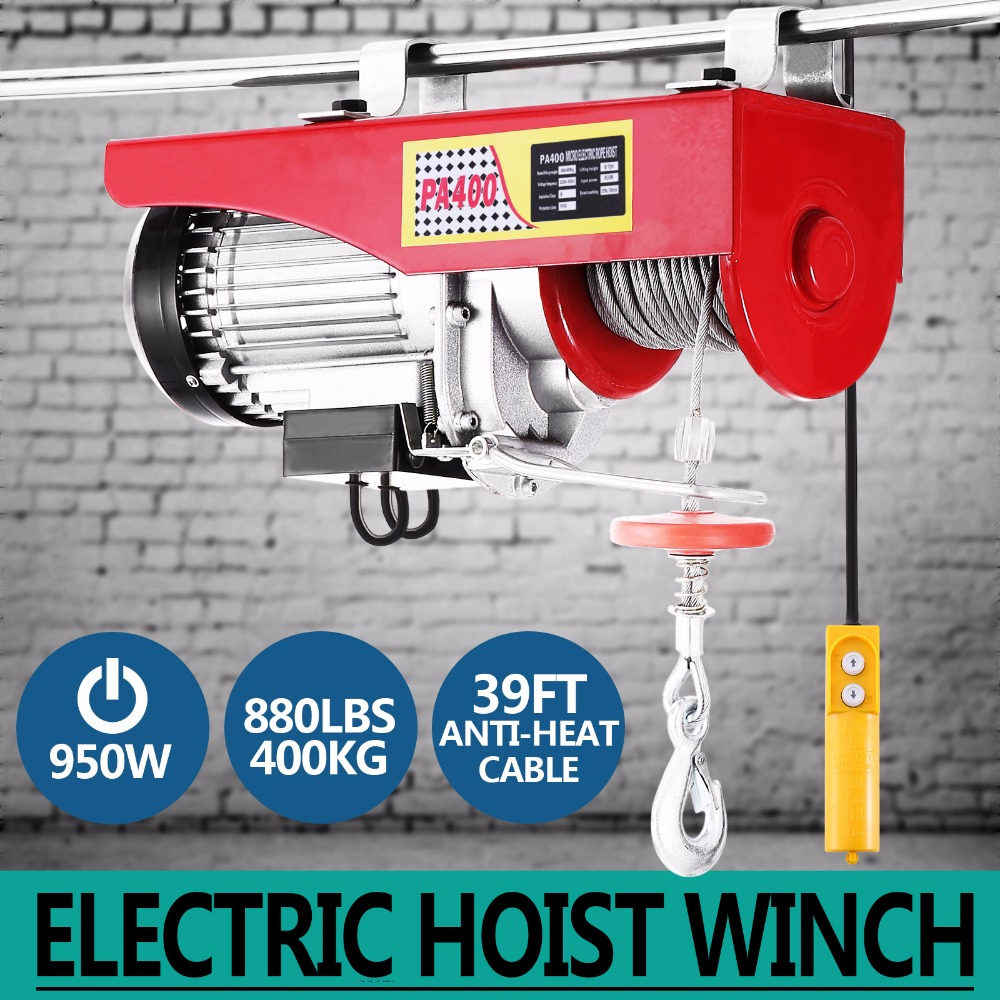 New 880lbs Mini Electric Hoist Crane Overhead Garage Winch Remote Control Auto Lift