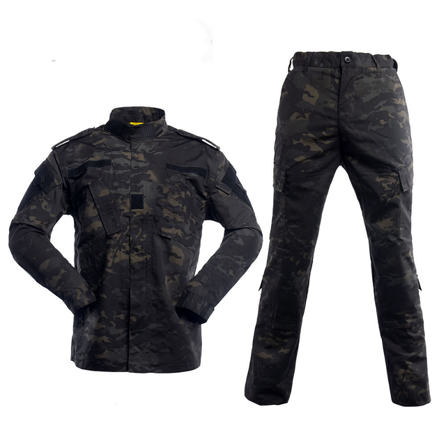 Black Military Uniform Camouflage Suit Tactical Military Airsoft Paintball Equipment Clothes 2