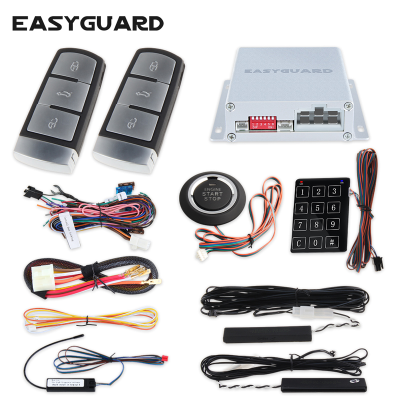 Easyguard Original PKE car alarm system remote engine start stop Push button start touch password entry window close output car alarm system pke smart key touch password entry power saving remote engine start starter push start stop button dc12v