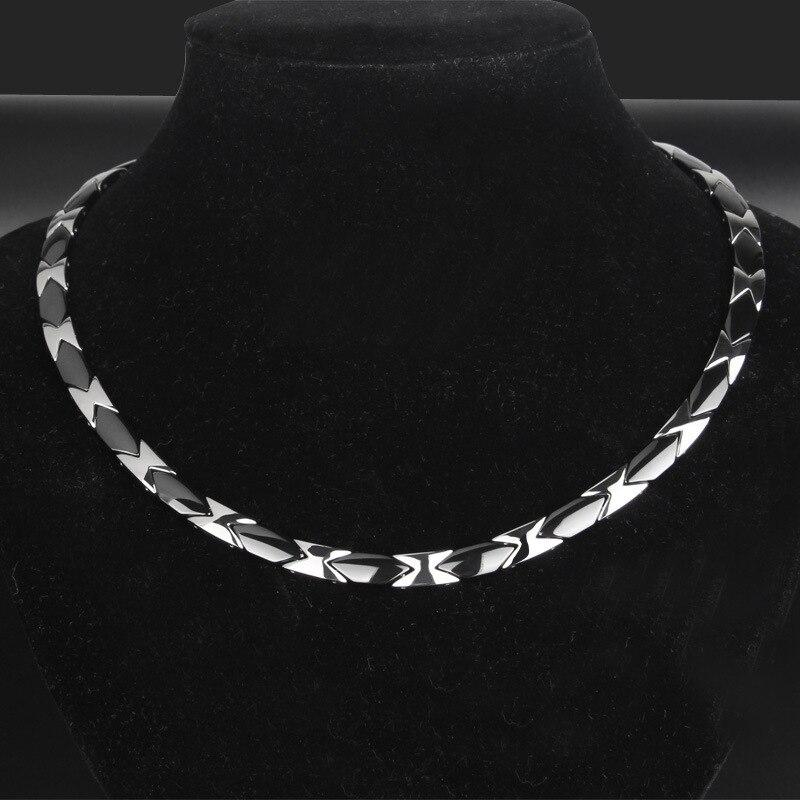 Collier en acier titane pour hommes, collier en acier inoxydable brut et portant, bijoux de soins de santé en céramique plate